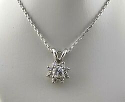 Natural Diamond Halo Solitaire Pendant Necklace In 14k White Gold, 0.37 Ct. T.w.