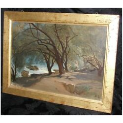 Antique 19th Swiss Original Villefranche Oil Cardboard Painting Signed Duval
