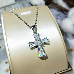 Gorgeous Cross 925 Silver Necklaces Pendants Cubic Zirconia Women Jewelry Gifts C $2.70