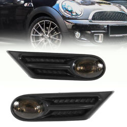 Side Indicator Repeater Scuttle Trim Fit Bmw Mini R56 R57 R58 R59 Smoked Black