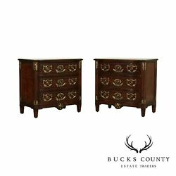 French Louis Xvi Style Quality Pair Partial Gilt Mahogany Chests Nightstands