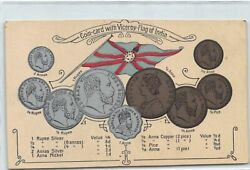 India - Coin Card With Viceroy-flag Of India - Publ. B. Bigold And Bergmann.