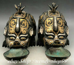 11 Antiques China Bronze Gold Silver Dynasty Palace Unicorn Bird Oil Lamp Pair