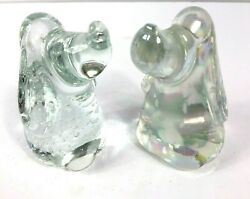 2 Art Glass Beagle Dog Figurines Controlled Bubbles Sommerso Mother of Pearl 3.5