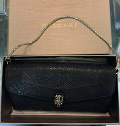 Nib Authentic Bulgari Black Serpenti Forever Wallet On A Chain Bag Sold Out