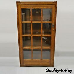 Mission Oak Style Arts And Crafts One Door Oak Wood China Cabinet Curio Bookcase