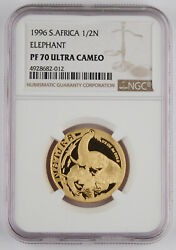 South Africa 1996 Wildlife Natura Elephant 1/2 Oz Gold Proof Coin Ngc Pf70 Uc