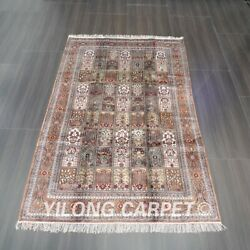 Yilong 5and039x8and039 Handwoven Silk Rug Home Interior Garden Scene Classic Carpet L054b