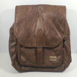 New With Tag Zebella Unisex Faux Leather Brown School College Backpack $15.99