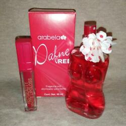 Dafne Red By Arabela Cologne Spray For Women 2.11oz/60ml And Lilquid Lip Gloss Red