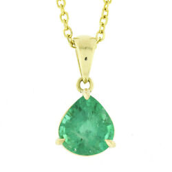 New 18k Gold 2.14ct Gia Wide Pear Teardrop Emerald Solitaire Pendant And 14k Chain