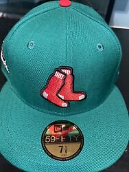 7 1/4 Boston Red Sox Kelly Green 2013 World Series Champs Pink Bottom Fitted Hat