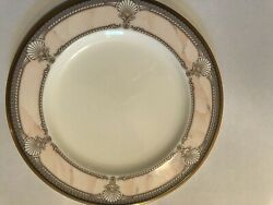 Noritake Pacific Majesty 10 1/2inch Dinner Plates Pink Gold And White. 11 Total