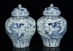 A Pair Chinese Blue And White Porcelain Handmade Exquisite Dragon Pots 16707