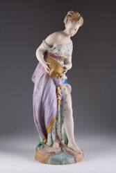 Antique 19th Original Large Porcelain Figurine French Vion And Baury Marked 43cm