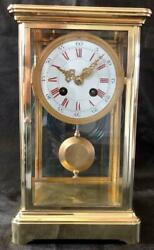 Antique French Clock Four Glass Crystal Regulator