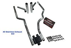 Ford 2.5 All Stainless Dual Exhaust Kit Flowmaster Super 10 Corner Exit Rolled