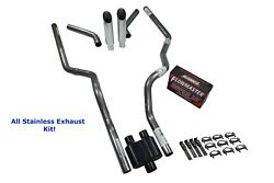 Ford 2.5 All Stainless Dual Exhaust Kit Flowmaster Super 10 Corner Exit Slash