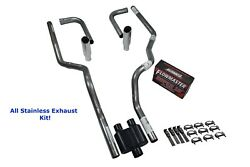 Ford 2.5 All Stainless Dual Exhaust Kit Flowmaster Super 10 Side Exit Rolled