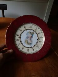 Antique Victoria Carlsbad Austria Marie Antoinette Hand Painted/ Signed Plate