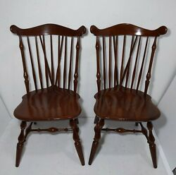 Vintage 2x Temple Stuart Rockingham Cherry Wood Colonial Windsor Dining Chairs