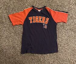 Detroit Tigers Mens T-shirt Large Embroidered Spell Out Orange Colorblock