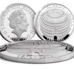Great Britain Uk 5 Pounds 2021 Silver Proof Domed Coin 150th Royal Albert Hall