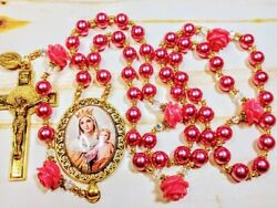 Vatican Style Rose Pink Pearl Queen Mary Child Jesus Cameo St. Rosary