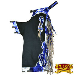 C-h148 Hilason Bull Riding Pro Rodeo Chaps Black Smooth Leather Bronc Show Adult