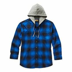 Foundry Menand039s Big And Tall Racing Blue Flannel Hooded Neck Button-up Shirt 3xlt