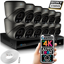 5mp And 4k Cctv System 12x Face Detection Sony Starvis Auto Zoom Security Cameras