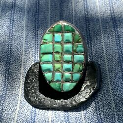 1940s Heavy Big Large Zuni Oval Long Green Turquoise Cast Silver Mens Ring Old
