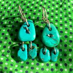 1900s Zuni Style Blue And Green Turquoise Tab Earring Ear Bobs Hand Wrought Silver