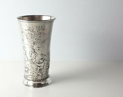 J.d. Schleissher And Sohne German Hanau 800 Silver Cup C1890 Gold Wash Interior