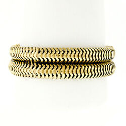 Retro Vintage Solid 14k Yellow Gold 18.5mm Dual Oval Snake Chain Bracelet 7.25