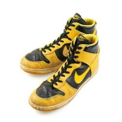 Nike Dunk High Sneakers Black X Yellow Menand039s Us11 1/2 Made In Korea 80s Vintage