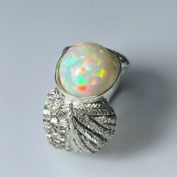 3.1ct Natural Welo Opal Multi-colour 925 Silver /9ct 14k 18k Gold Platinum Ring