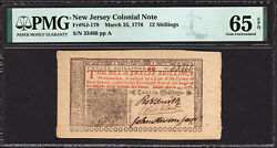 12 Shillings Mar. 25 1776 New Jersey Colonial Note Pmg 65 Epq Signed John Hart