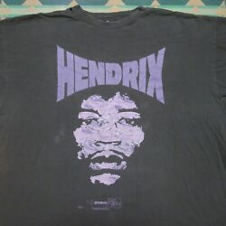 Vintage 1996 Jimi Hendrix Big Face T-shirt Xl Authentic Dated Faded Purple