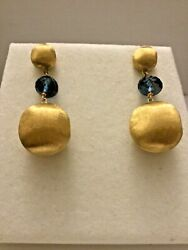New Marco Bicego Africa 18k Yellow Gold And London Blue Topaz Large Drop Earrings