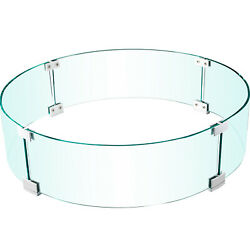 Vevor Round Fire Pit Wind Guard Fence Tempered Glass 23x23x8 In 1/4-in Thick