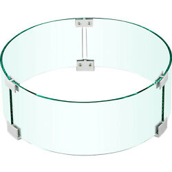 Vevor Round Fire Pit Wind Guard Fence Tempered Glass 17x17x6 In 1/4-in Thick