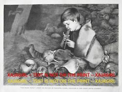 Flutist Young Boy Playing Magic Flute To Imaginary Pets, 1880s Antique Print