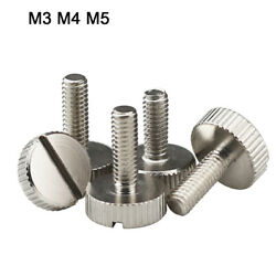 M3/4/5 Cylinder Head Slotted Knurled Thumb Screw Hand Grip Knobs Bolt Nil-plated