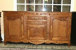 French Antique Louis Xv Carved Oak Sideboard / Buffet / China Cabinet