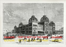 New York City Grand Central Station Depot Exterior, Large 1870s Antique Print