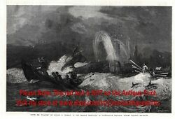 Whaling Humpback Whale Oceania South Pacific Seas, 1860s Antique Engraving Print