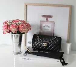 Authentic Black Quilted Lambskin Vintage Classic Single Flap Bag.