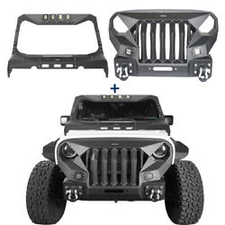 Mad Steel Front Grill Bumper Bar + Windshield Cowl Cover Guard For 07-18 Jeep Jk