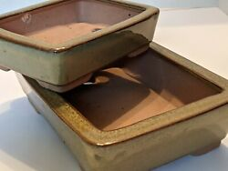 Bonsai Pots Set Of 2 Olive Green Vintage Age New Never Sold Superior Quality ✔